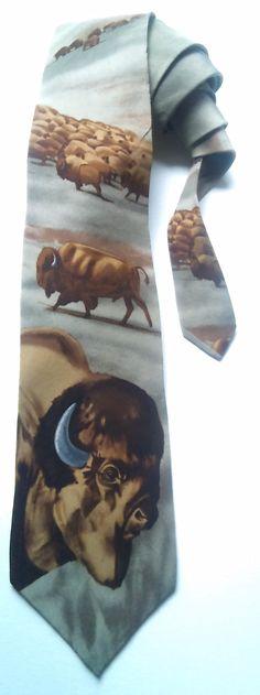 """World Wildlife Fund """"AMERICAN BISON"""" Vintage Silk Men's Necktie, Novelty tie, WWF, Wolf by AArchanaAndCo on Etsy"""