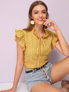 To find out about the Tie Neck Butterfly Sleeve Schiffy Top at SHEIN, part of our latest Blouses ready to shop online today! Looks Chic, Casual Looks, Traditional Dresses Designs, Myanmar Dress Design, Clothing Hacks, Fashion Outfits, Womens Fashion, Travel Outfits, Lace Tops