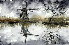 "1 of 1: °♡Original Aquarell,Watercolor, Natur, Lake,See,Windmill,Windmühle""♡° Landschaft"