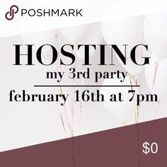 THEME ANNOUNCED! I'm excited to announce I'll be hosting my 3rd party on 2/16 at 7 pm! Theme is COLD WEATHER PICKS, woohoo! I'm searching for some classy & gorgeous HPs! To be considered, like this listing & leave me a comment so I can easily find you. I'd love to find some new closets or ones with no previous HPs. To be considered you need: 💜All Posh compliant listings 💜Clean, undamaged items 💜No liquids, nail polish, or soaps 💜Clear, actual photos of your item PLEASE NO TAG LISTS AND…