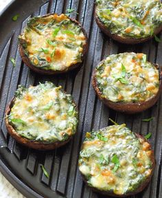 Creamy Spinach Stuffed Mushroom Recipe - Portobello mushrooms stuffed with creamy garlic spinach, then topped with grated parmesan