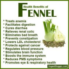 We live using Fennel in our raw meals and raw juices and so should you.  1)Great for anemia.  2) Facilitates digestion.  3)Cures diarrhea  4)Relieves renal colic  5)Eliminates bad breath  6)Prevents constipation 7) Lowers LDL cholesterol 8)Protects against cancer 9)Reduces pms symptoms 10)Boosts immune system  11)Promotes eye and respiratory health  Juice cleanse