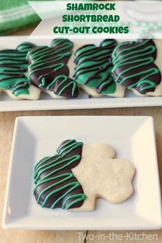 Shamrock Shortbread Cut-Out Cookies Two in the Kitchen