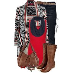 Cozy fall fashion--geometric or tribal cardigan with neutral solid colors and basic pieces: boots, tank top, scarf, skinny jeans.