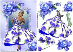 Vintage Style Blue Rose Beauty on Craftsuprint designed by Julie Hutchings - vintage beautiful rose in a pretty summer blue rose dress with decoupage and sentiment tag With Love could be used for many occasions  - Now available for download!