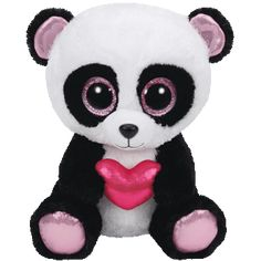 """Cutie Pie the Valentine Panda - Medium 9"""" """"I'm cute and furry and we'll never part. If you just hold me close and warm my cold heart."""" Birthday: April 17 Beanie Boos are an adorable Ty collection of p"""
