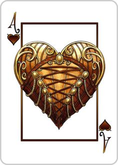 #Steampunk Ace of Hearts Playing Card - A Heart in a #Corset - See the Deck on #Kickstarter