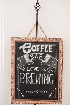 Coffee Bar, Love is Brewing Wedding Sign for you coffee bar. Chalkboard art. Perfect for any wedding or party. Lettering hand drawn. Sign measures 15.5 inches tall x 12 inches wide. Metal stand not included Please dont hesitate to contact me with any questions