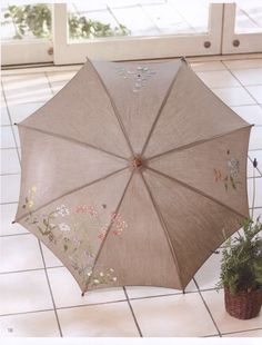 hand embroidery botanical linen parasol pattern by LibraryPatterns