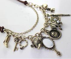 BETSEY JOHNSON Tea Pot Mirror High Heel Charm Leather Necklace w/free earrings!