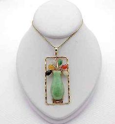 Vintage 14k Yellow Gold Multi-Color Jade Vase Pendant Charm Chain Necklace