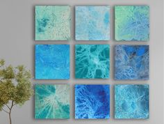 Blue Abstract art 9 square CUSTOM Abstract Wall by TwistOfUnique, $360.00