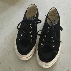 Man Repeller x superga Shiny black, barely worn sneakers Superga Shoes Sneakers