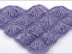 Crochet: Punto Abanico # 4 en V - YouTube