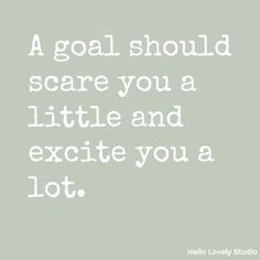 A goal should scare you a little and excite you a lot - inspirational quote on Hello Lovely Studio. Great Quotes, Quotes To Live By, Me Quotes, Motivational Quotes, Inspirational Quotes, Quotes On Work, Quotes On Goals, Quotes Motivation, The Words