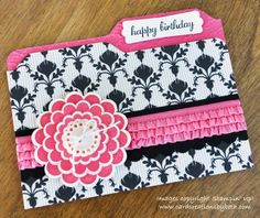"handcrafted card from Card Creations by Beth: ""File Folder"" Birthday Card ... luv Beth's color selection of black and white with hot pink ... cute presentation with rows of ruffled ribbon and layers of scalloped flower ... excellent card for a fashionista and great place to put a gift card or some photos ... Stampin' Up!"