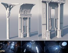 Environment Concept Art, Environment Design, 3d Architecture, Historic Architecture, Throne Room, 3d Fantasy, 3d Building, Scenic Design, Environmental Art