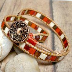 Terra Cotta Tila Beads and Leather Double Wrap Chan Luu Style Bracelet | KatsAllThat - Jewelry on ArtFire
