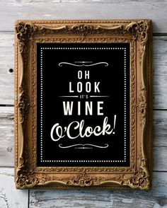 Retro Inspirational Quote Giclee Art Print - Vintage Typography Decor - Customize - Wine O'Clock Grape Berry UK❤️