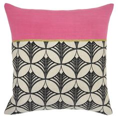 Add a bright touch to your guest bed or sofa with this lovely pillow, featuring a bold geometric pattern and a pop of pink.   Produc...