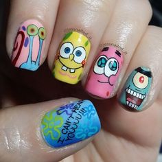 SpongeBob SquarePants nail art featuring Gary, SpongeBob, Patrick, and Plankton!