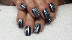 Racing stripe nails foil pintrest inspired