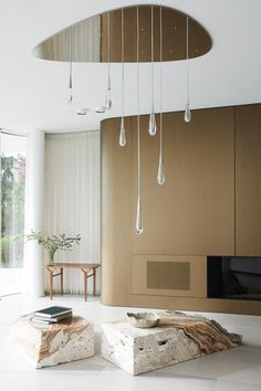 Image 15 of 35 from gallery of Villa Mosca Bianca House / Design Haus Liberty. Courtesy of Design Haus Liberty Ceiling Fixtures, Ceiling Lamp, Sala Grande, Italian Villa, Living Spaces, Living Room, Ventilation System, Fireplace Surrounds, Home Interior