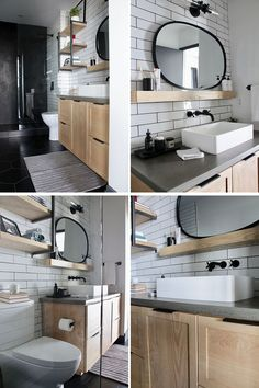 Bathroom Renovation Ideas - This master bathroom renovation included white subway tiles, large format matte black hexagon tiles, custom-designed shelves, and a wood vanity with a concrete countertop. Hexagon Tile Bathroom, Black Hexagon Tile, Concrete Bathroom, Hexagon Tiles, Shower Tiles, Bathroom Faucets, Mosaic Tiles, Bathroom Renovations, Home Renovation
