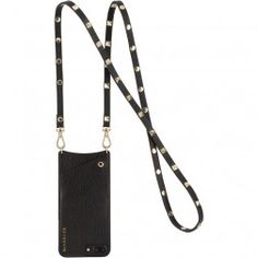 The Bandolier Sarah Black Leather with Gold Stud Strap iPhone accessory case features a pebbled black leather case with a black leather strap with gold square studs. Iphone Holder, Iphone Cases, Gold Iphone 7 Plus, Sarah Black, Cell Phone Purse, Purse Strap, Iphone Accessories, Leather Case, Nordstrom