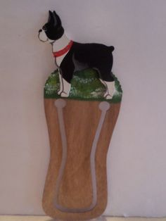 Unique Sculptured Boston Terrier Bookmark, Real Wood, Gorgeous Figure,  $12.00, Free Shipping