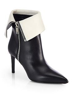Saint Laurent Bicolor Leather Fold-Over Ankle Boots