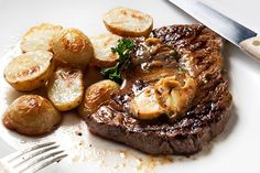 Dad's Favorite: Whiskey Glazed Steak and Potatoes! This recipe includes all the things many dads love: Steak, Potatoes, Whisky... he'll be begging for this meal more than just the third Sunday in June.