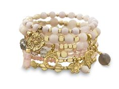 Beautiful Rose Quartz Agate and Crystal Set of 6 Gold Tone Multicharm Fashion Stretch Bracelets with Pink Beads from Blue Tulip Boutique