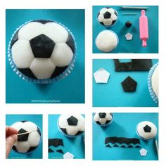 How to make a soccer ball cupcake. Soccer Cupcakes, Soccer Cake, Fondant Toppers, Cupcake Toppers, Cupcake Cakes, Diy Cupcake, Cupcake Tutorial, Fondant Tutorial, Themed Birthday Parties