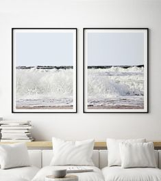 Ocean Landscape Print Set of 2 for your living room, bedroom, office or as a great housewarming gift. Coastal Wall Art, Ocean Wave Print, Surf Art, Nautical  Decor,