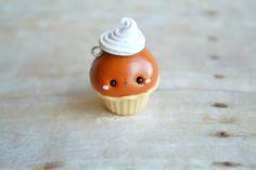 Kawaii Pumpkin Pie Cupcake - Charm, Polymer Clay Charm, Pendant, Jewelry, Food Jewelry, Fall, Autumn, Seasonal, Holiday, Cute