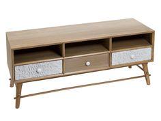 Mueble TV vintage nórdico color natural y blanco