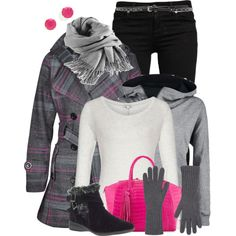 LayeredGray&Pink, created by hollyhalverson on Polyvore