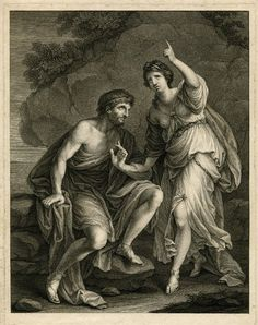 Calypso calling heaven and eath to validate her sincere affection for Ulysses to delay his departure - poses  Print made by Giuseppe Carlo Zucchi  1740-1800  The British Musuem