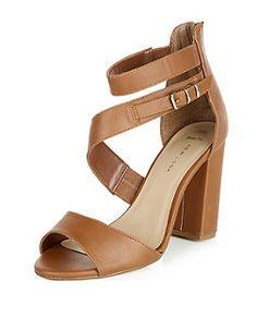 Chaussures à talons block Wide Fit fauves à lanières | New Look