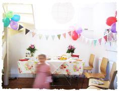 homemade bunting for a little girl tea party.