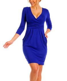 This Blue Pocket-Accent Surplice Dress - Plus Too is perfect! #zulilyfinds