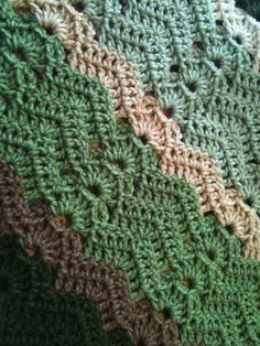 Shades of Green Rippled Afghan by sccoleman1987 on Etsy, $100.00