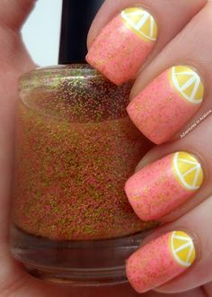 Pink Lemonade Nails. I think the citrus idea in this is very clever and seems pretty easy.