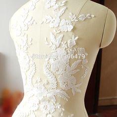 Francés tela de encaje negro de Marfil blanco de Algodón bordado de applique de boda de gama Alta vestido de accesorios Hechos A Mano DIY RS254