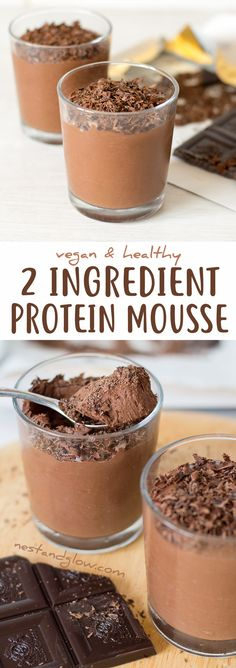 2 Ingredient Chocolate Protein Mousse - Vegan and Healthy