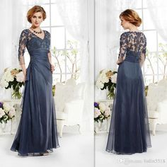 2015 Vintage Navy Blue Mother Of The Bride Groom Dresses 3/4 Sleeves Appliques Lace A Line V Neck Long Custom Made Winter Evening Party Gown Mother Of The Bridegroom Dresses Mother Of The Bridge Dresses From Linlin5518, $104.18| Dhgate.Com