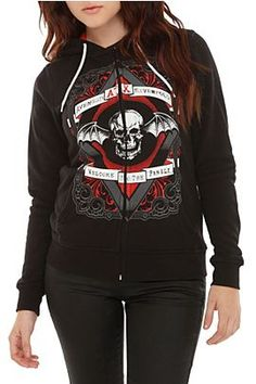 Avenged Sevenfold Welcome To The Family Girls Zip Hoodie @ Hot Topic, $48.50