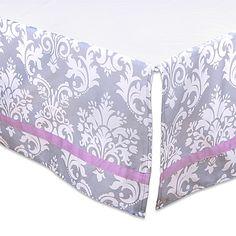 The Peanut Shell® Damask Crib Skirt in Purple/Grey