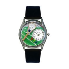 Whimsical Watches Lacrosse Black Leather And Silvertone Watch